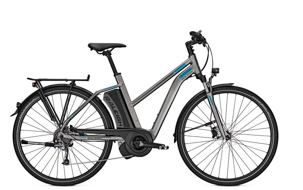 E-Bike Raleigh Stoker 9 9G 13 Ah 28 Zoll Damen Trapez Freilauf in greymatt