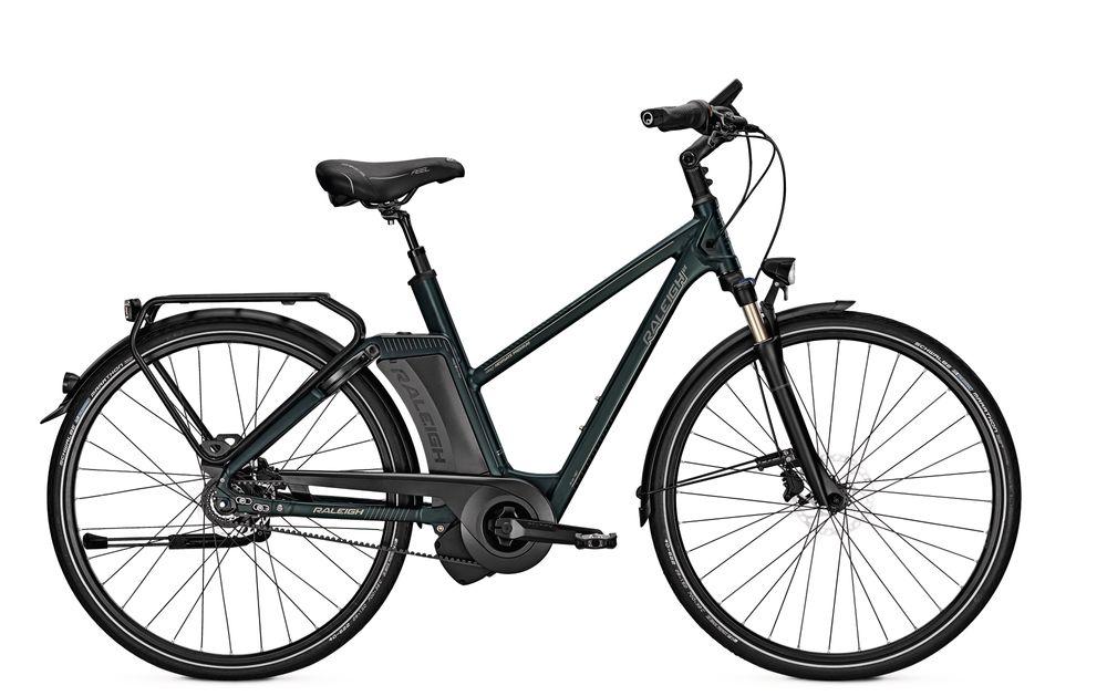 E-Bike Raleigh Newgate Premium 8G 17 Ah 28 Zoll Damen Trapez Freilauf in greenmatt
