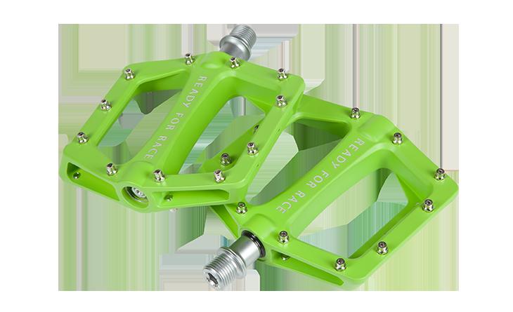 Pedale  RFR Flat CMPT in green Aluminium mit austauschbaren Anti-Rutsch-Pins