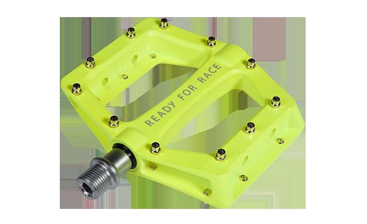 Pedale RFR Flat CMPT in neon yellow Aluminium mit Anti-Rutsch-Pins