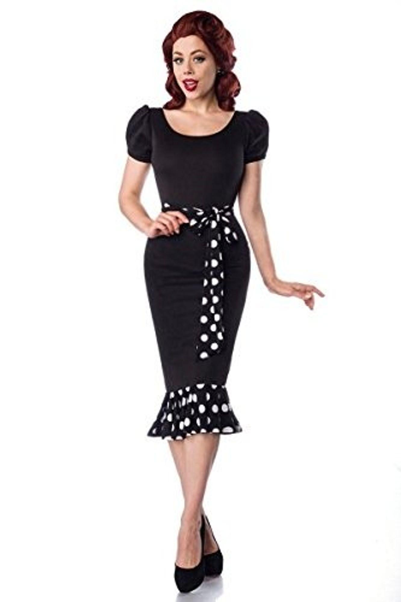 Belsira Jersey-Kleid mit Puffärmeln - schwarz/weiß