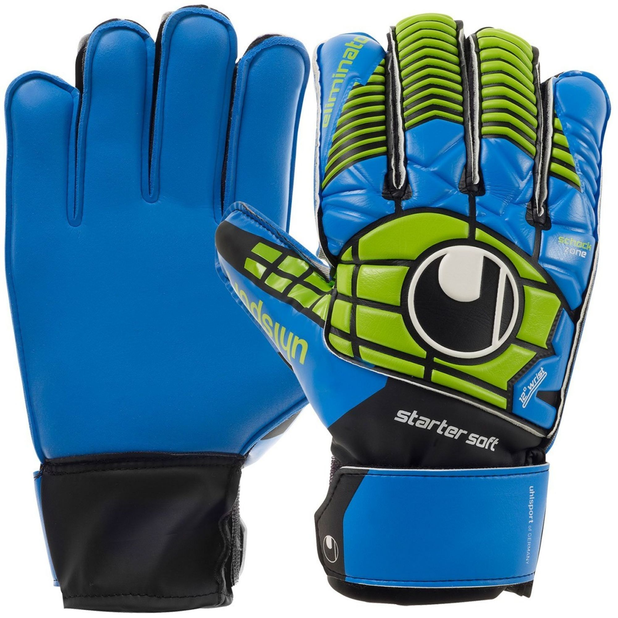 "Uhlsport Torwarthandschuh ""Eliminator Starter Soft"" - schwarz/blau/power grün"
