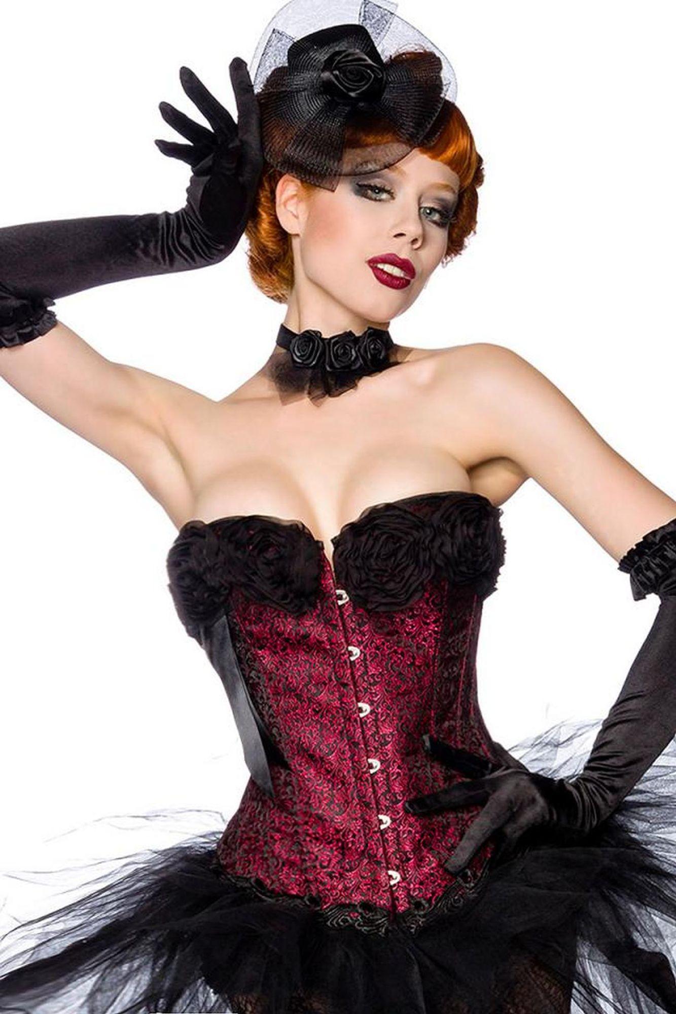 Atixo Burlesque-Corsage - schwarz/rot