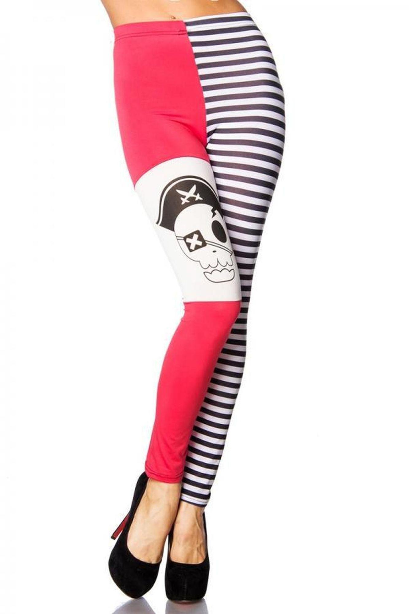 Atixo Piraten-Leggings - schwarz/pink/weiß