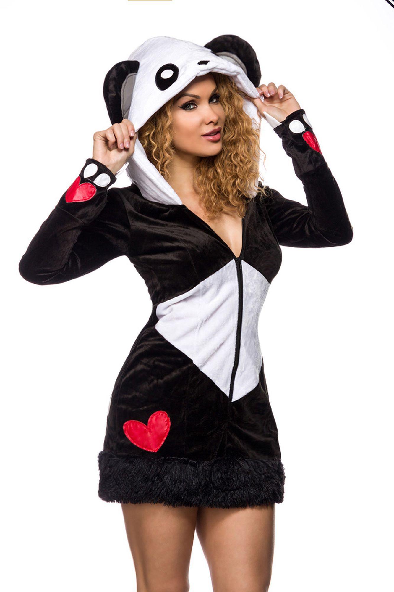 Atixo sexy Pandabär Kostüm - schwarz/weiß/rot