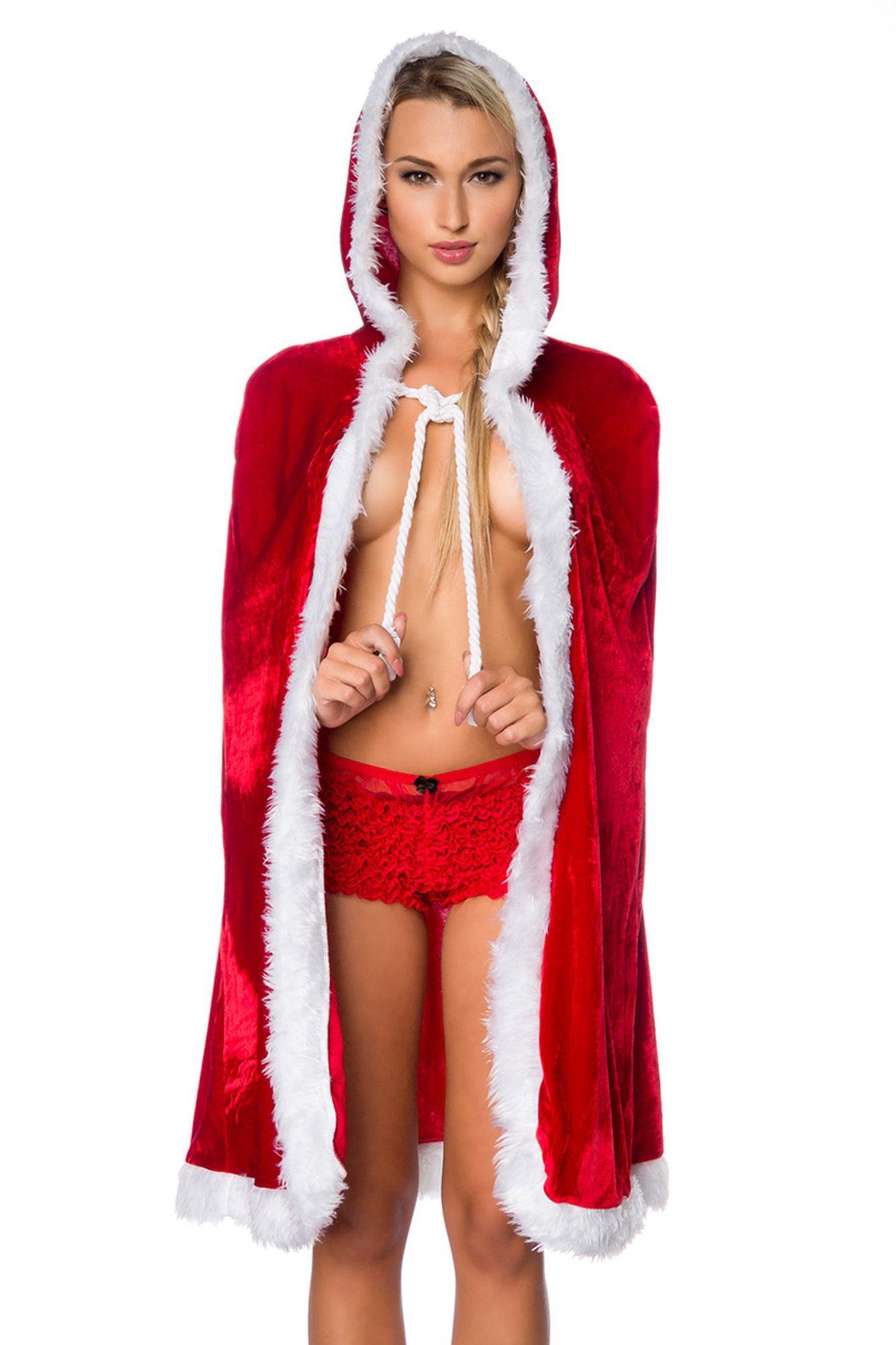 Atixo Weihnachts-Cape - rot/weiß