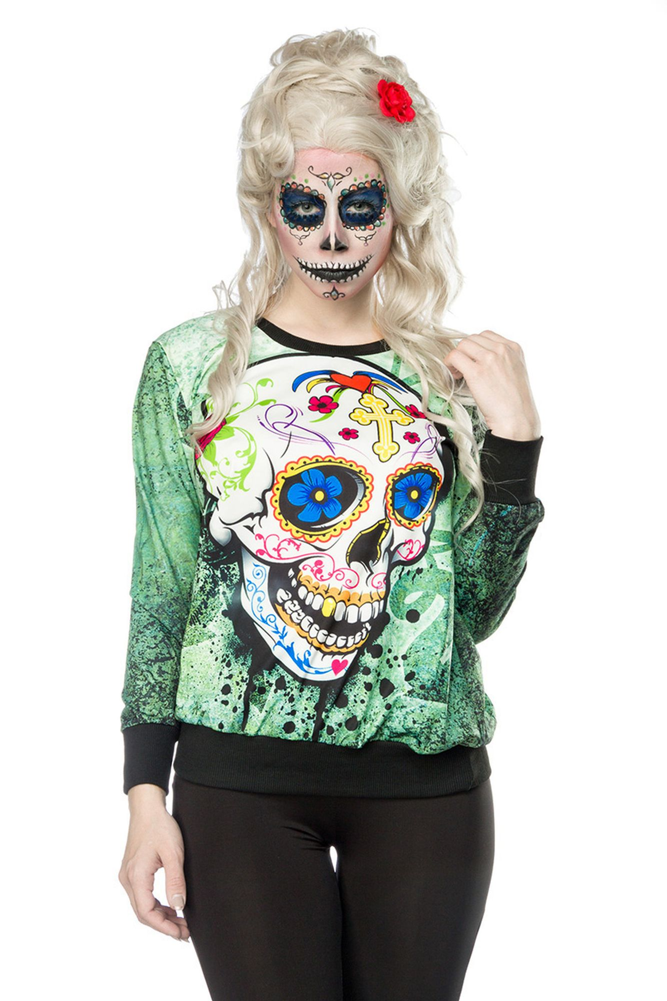 Atixo Skull Sweatshirt - grün/gemustert