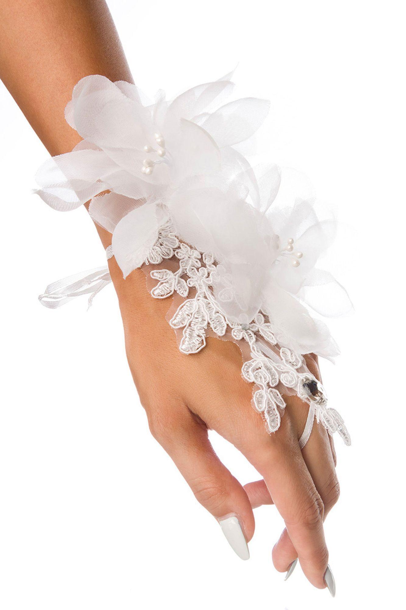 Atixo floraler Handschmuck - weiß