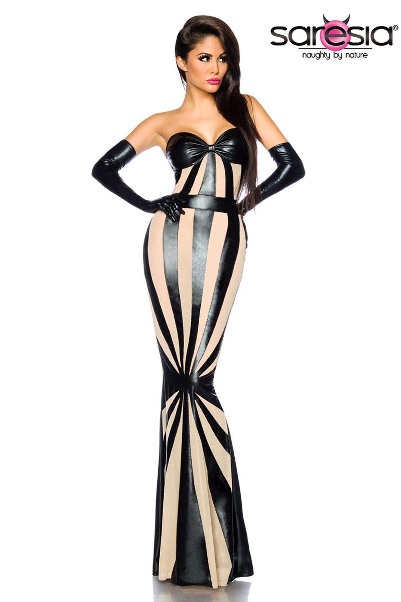 Saresia Wetlook-Kleid von Saresia - schwarz/haut