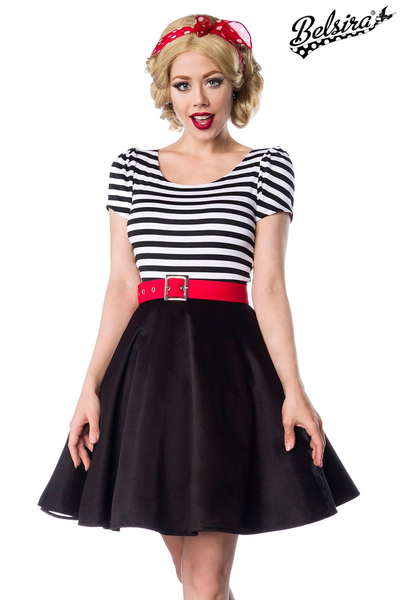 Belsira Jersey Kleid - schwarz/weiß