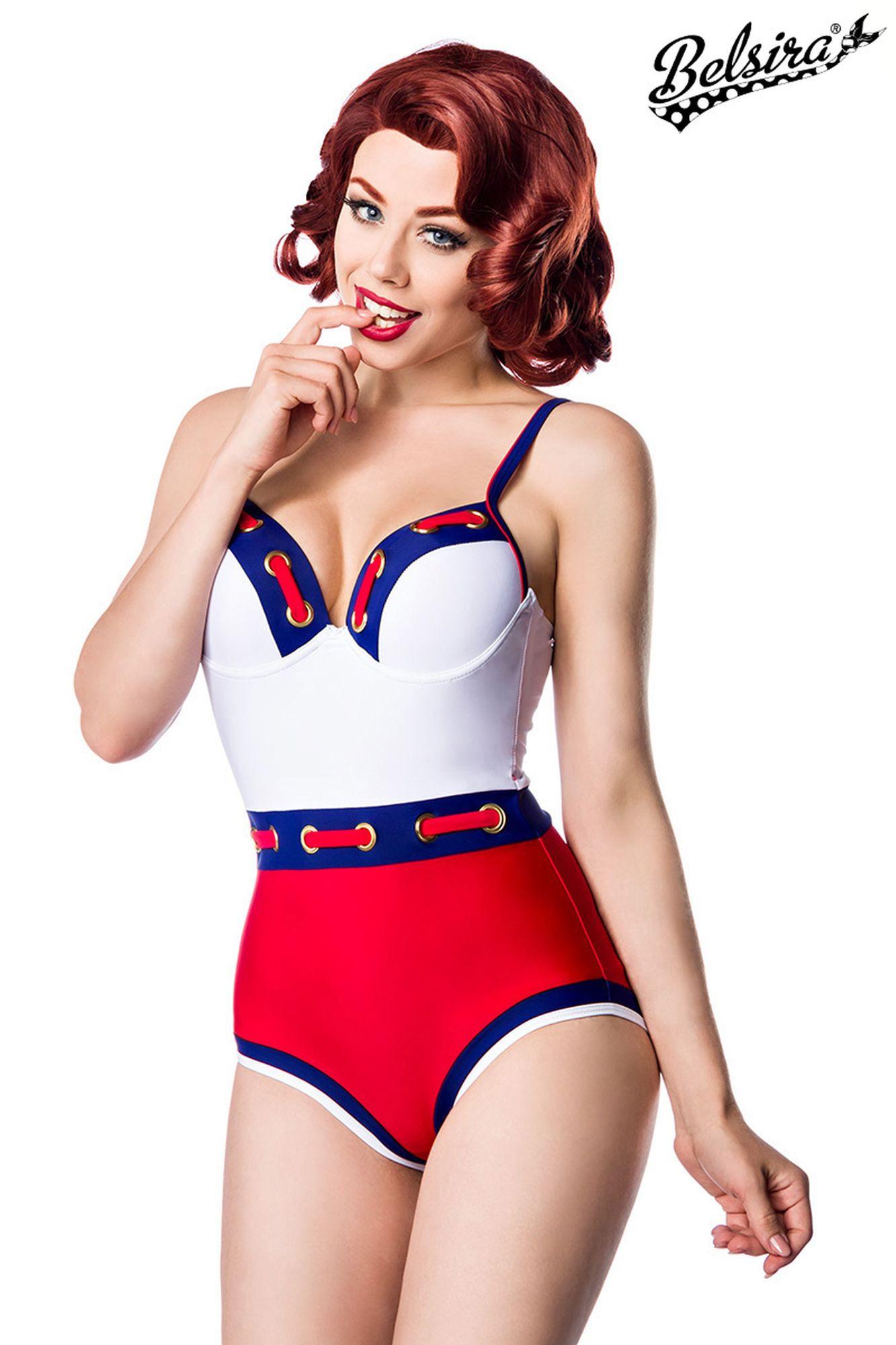 Belsira Marine Swimsuit - weiß/blau/rot
