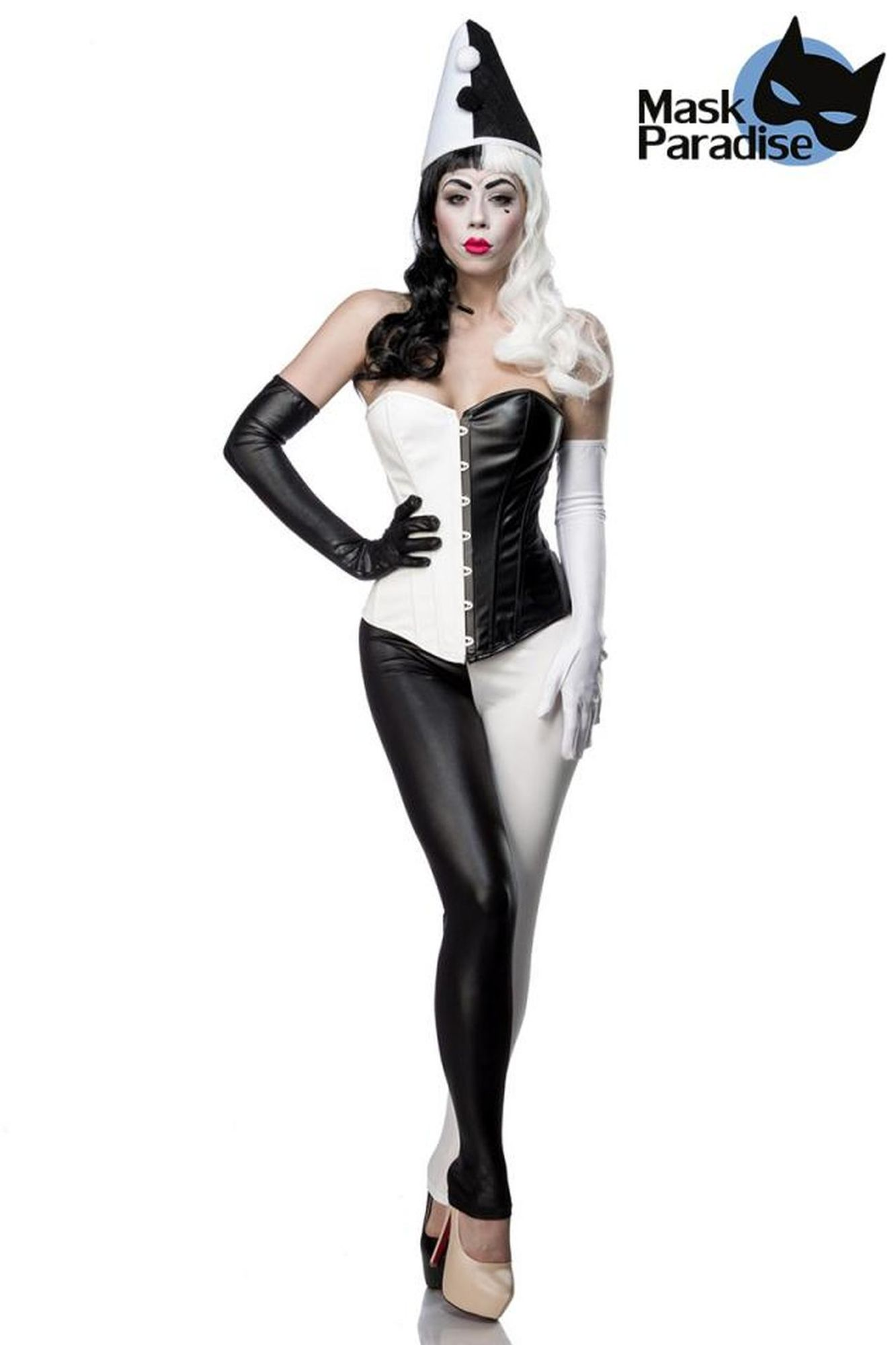 Mask Paradise Harlekinkostüm: Classic Harlequin - schwarz/weiß