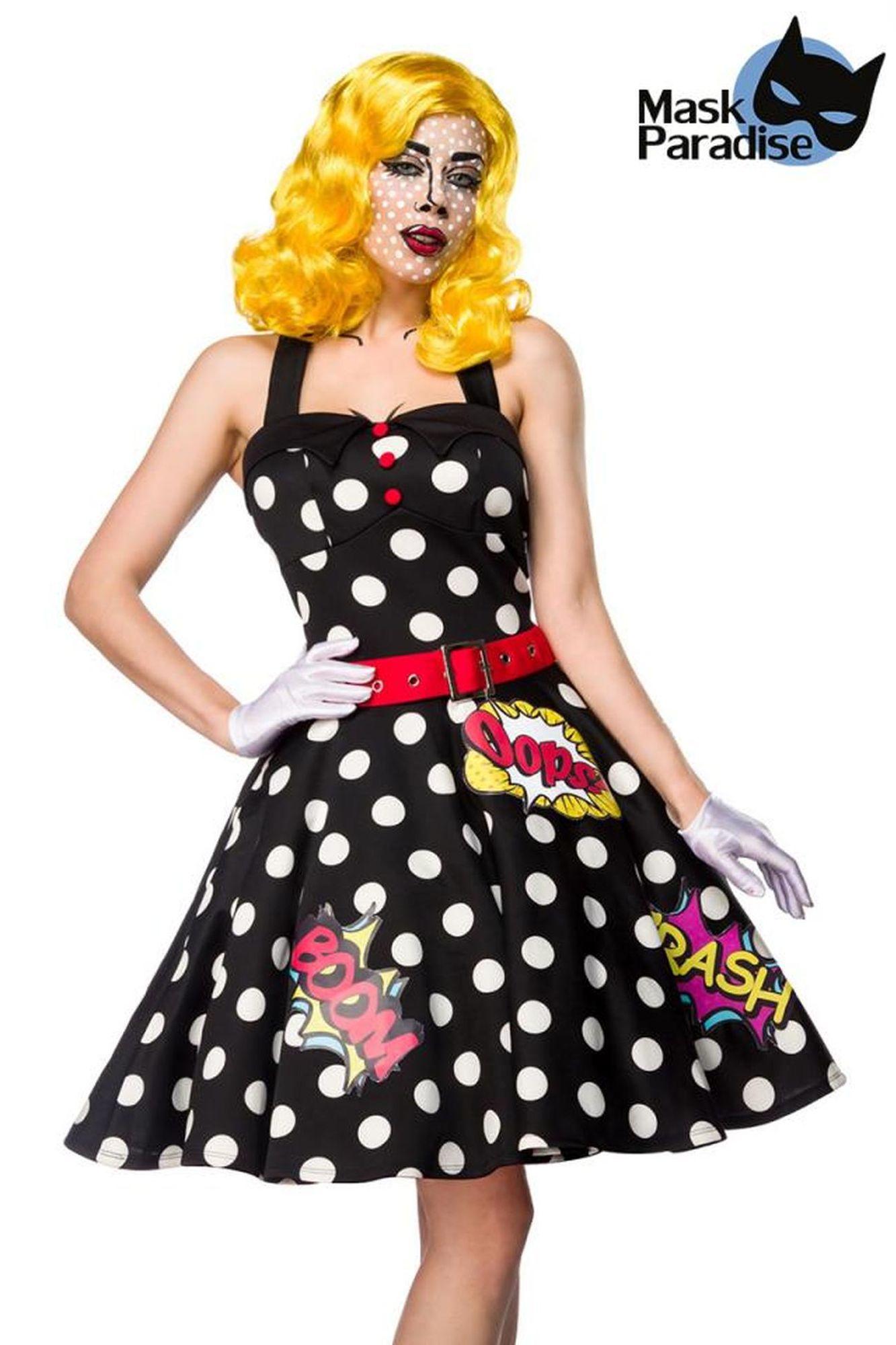 Mask Paradise Pop Art Kostüm: Pop Art Girl - schwarz/weiß/rot