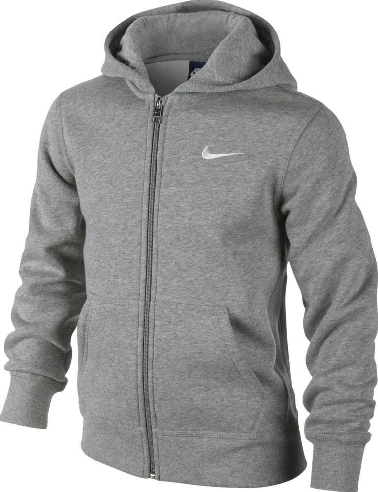 Nike B Nsw Hoodie Ya76 Bf Fz - dk grey heather/white