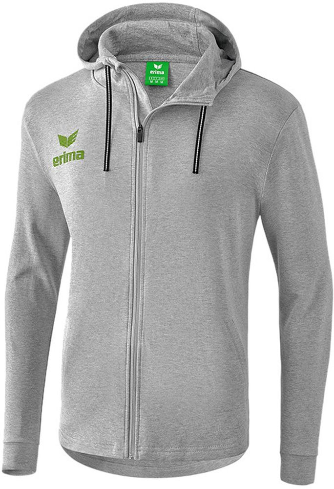 Erima Essential Hoody Jacket - light grey melange/twist of lime - Kapuzensweats-Kinder