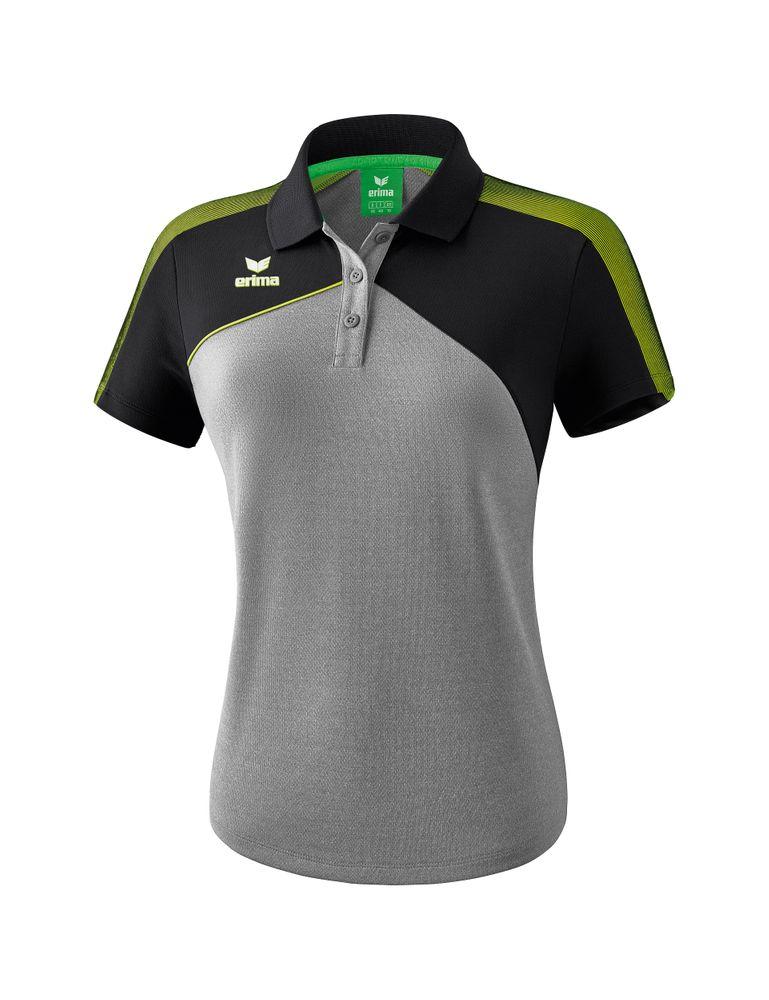 Erima Premium One 2.0 Poloshirt Function - grey-melange/black/lime pop - Polos-Damen