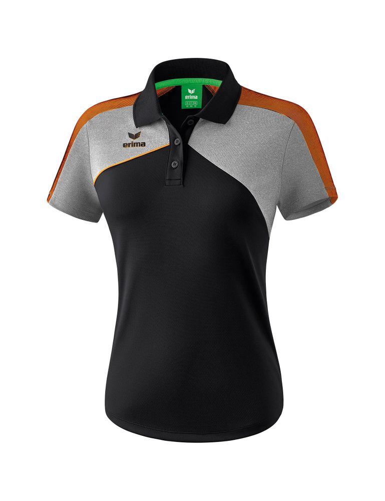 Erima Premium One 2.0 Poloshirt Function - black/grey melange/neon orange - Polos-Damen