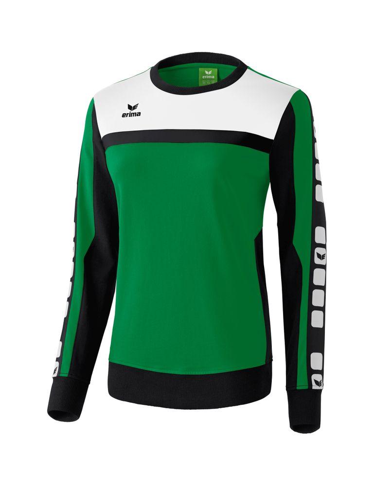 Erima Classic 5-Cubes Series Sweat Shirt - smaragd/black/white - Sweatshirts-Damen