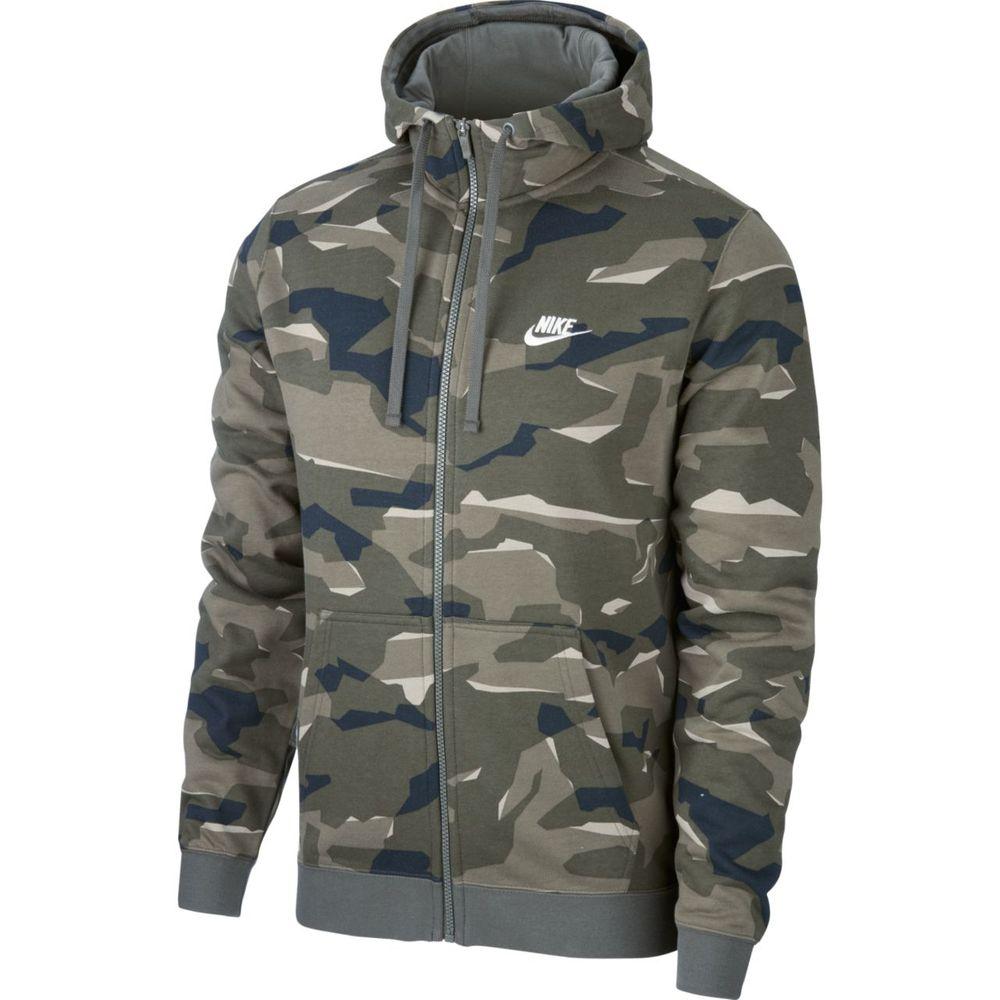 Nike M Nsw Club Camo Hoodie Fz Ft - cargo khaki/cargo khaki/white - Unterjacken-Herren