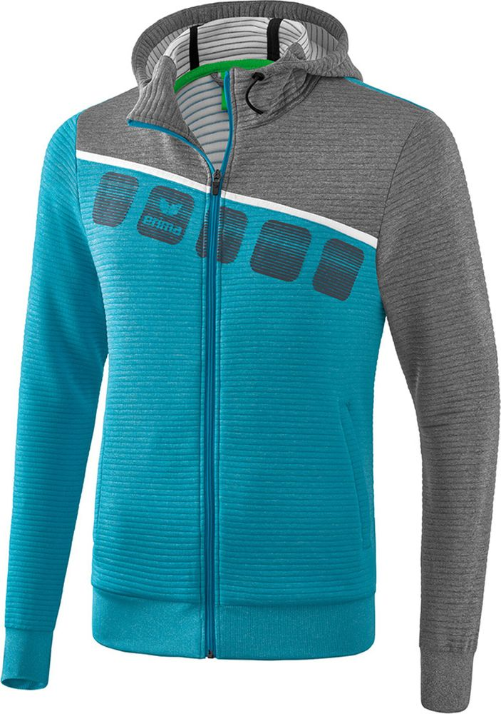 Erima 5-C Training Jacket - oriental blue mel./grey mel./white