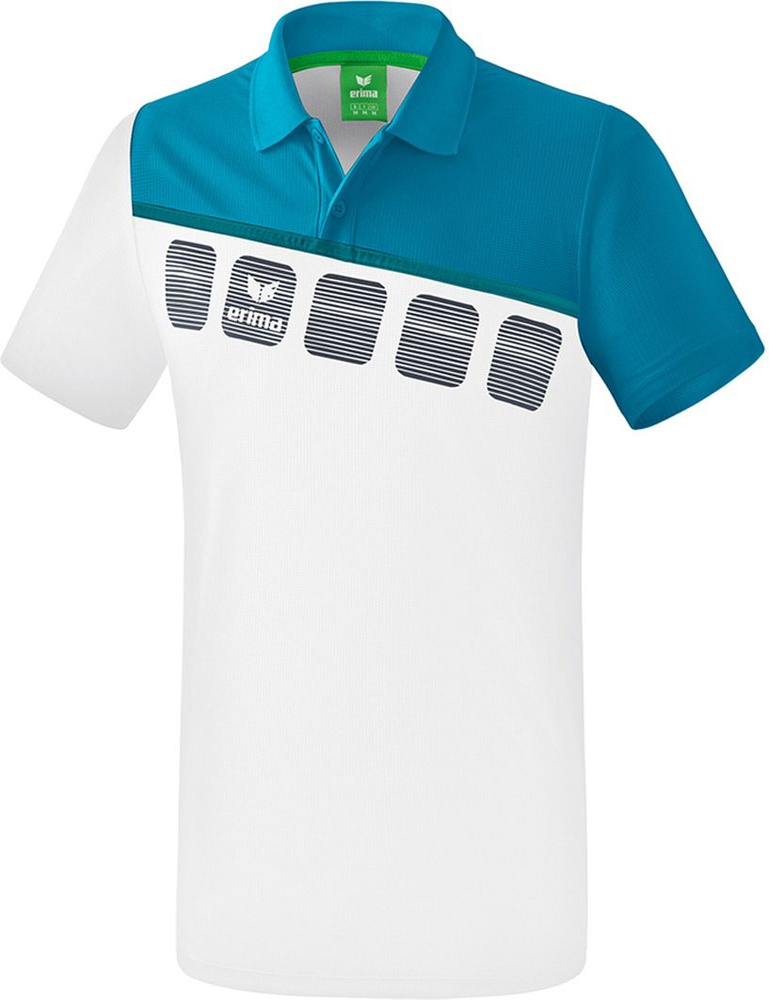 Erima 5-C Poloshirt Function - white/oriental blue/colonial blue