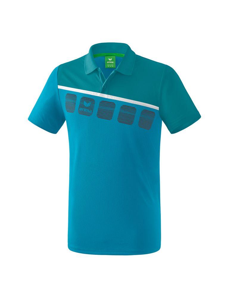 Erima 5-C Poloshirt Function - oriental blue/colonial blue/white