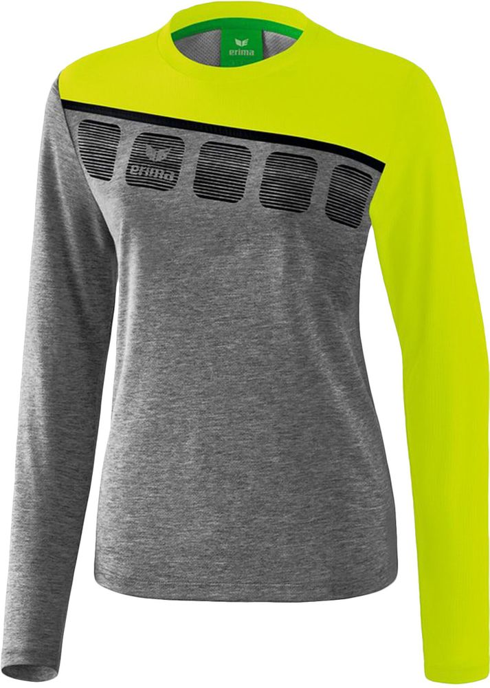 Erima 5-C Longsleeve - grey melange/lime pop/black