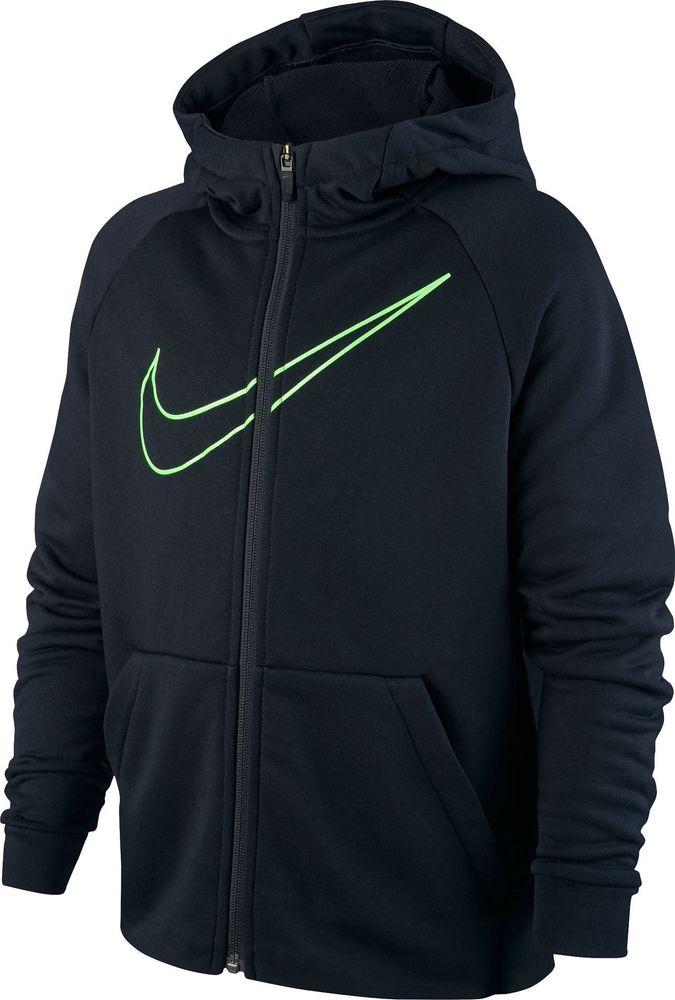 Nike B Nk Dry Hoodie Fz Emb Leg - black/lime blast