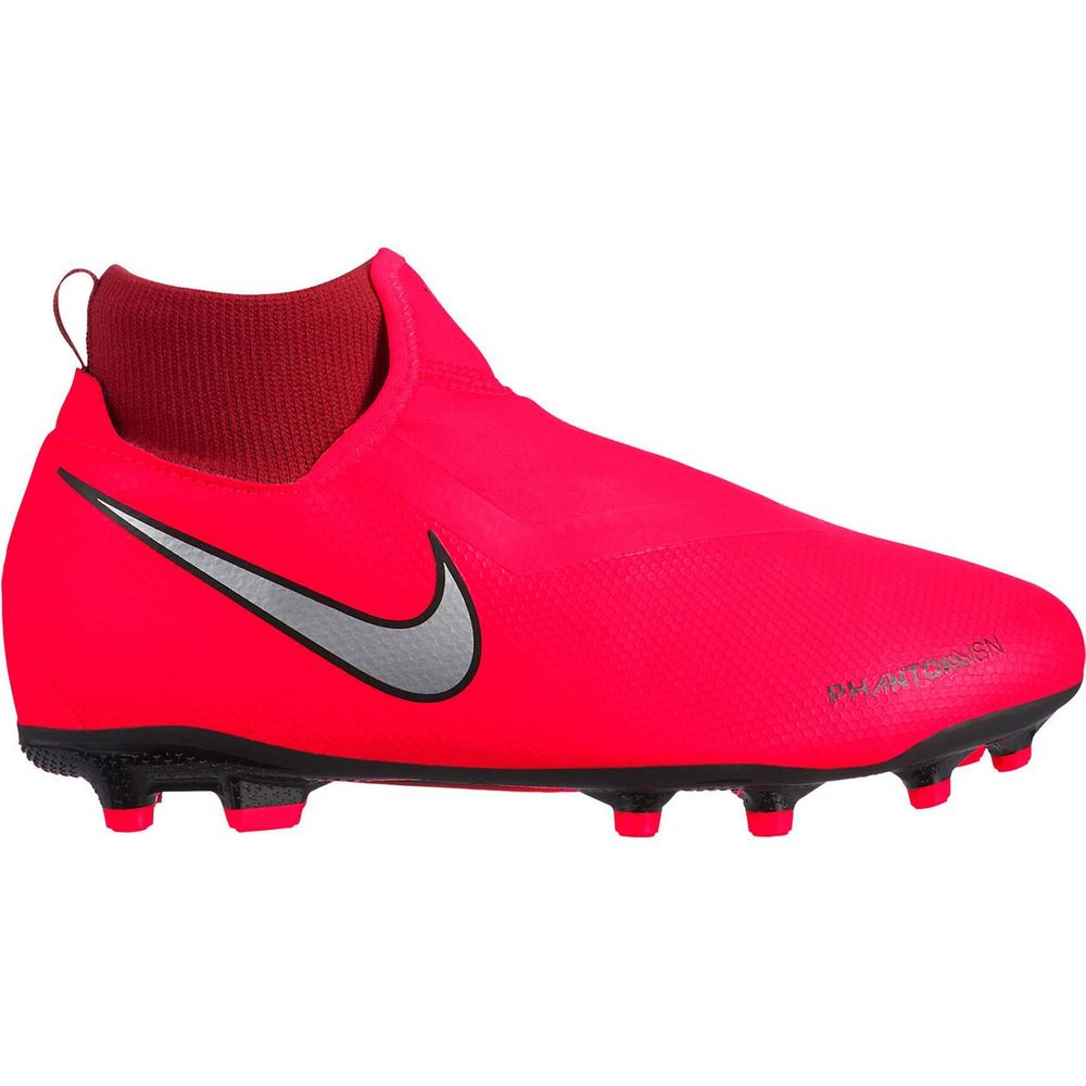 Nike Jr Phntom Vsn Academy Df Fg/Mg - bright crimson/metallic silver