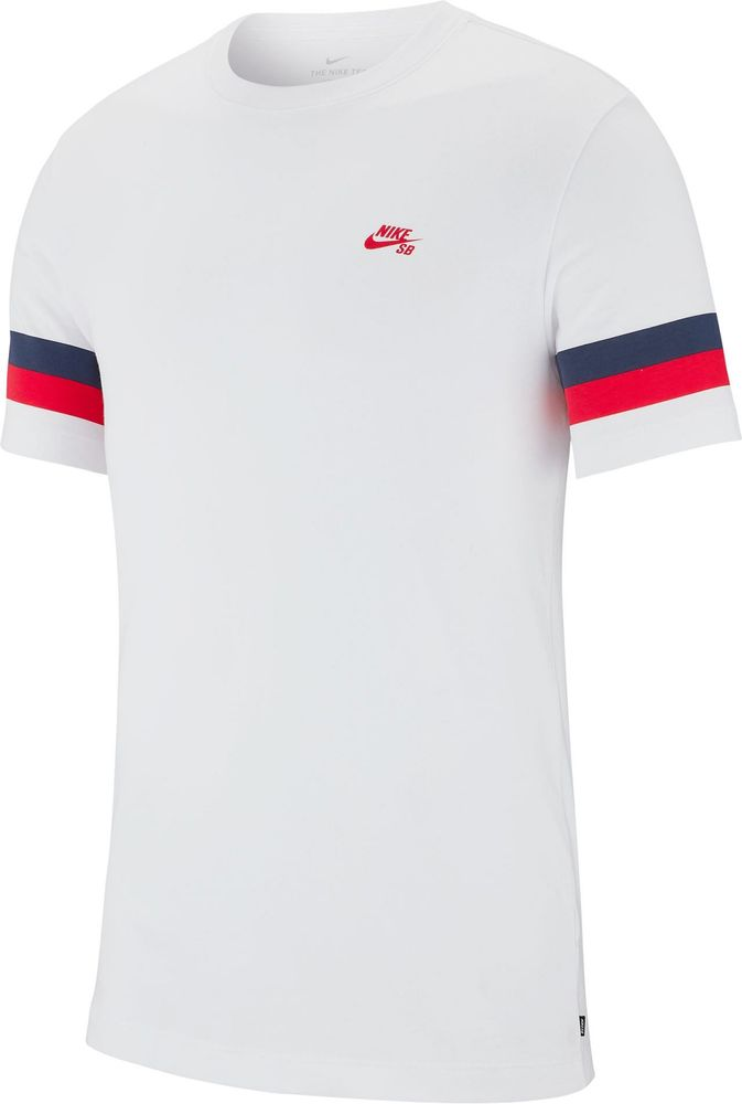 Nike M Nk Sb Tee Sleeve Stripe - white/university red