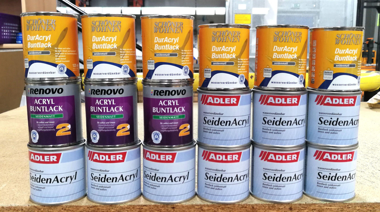 (8,88€/l)18x125ml Restposten Buntlack T3 seidenmatt, versch. Farben & Hersteller