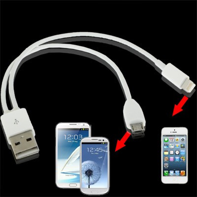 2in1 Adapter Connector USB auf 8 Pin&Micro USB IPhone 5/IPad Mini/Samsung Galaxy