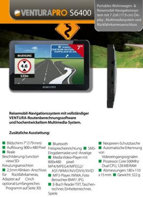Snooper S6400 Ventura Pro Camper & Caravan Navigationssystem Europa Lifetime Map