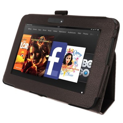 Slim Tasche Glatt Case für Amazon Kindle Fire HD Braun Etui Hülle Cover