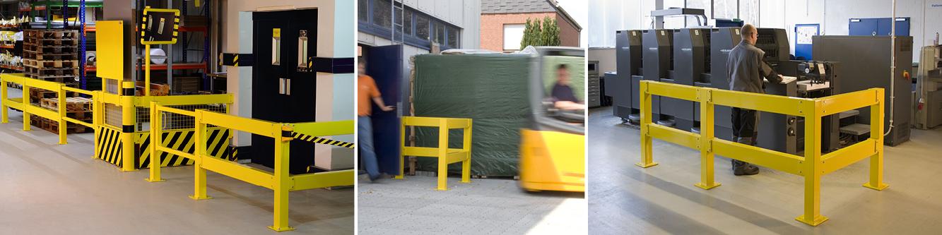 Modulares Sicherheitsgeländer aus Stahl; zur Anwendung im Innen- und Außenbereich
