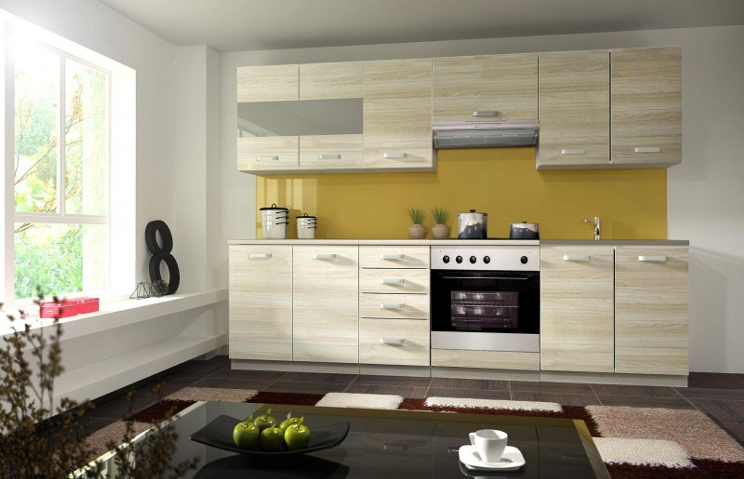 k che wiktoria 260cm k chenzeile k chenblock variabel stellbar in eichenholzoptik chamonix. Black Bedroom Furniture Sets. Home Design Ideas