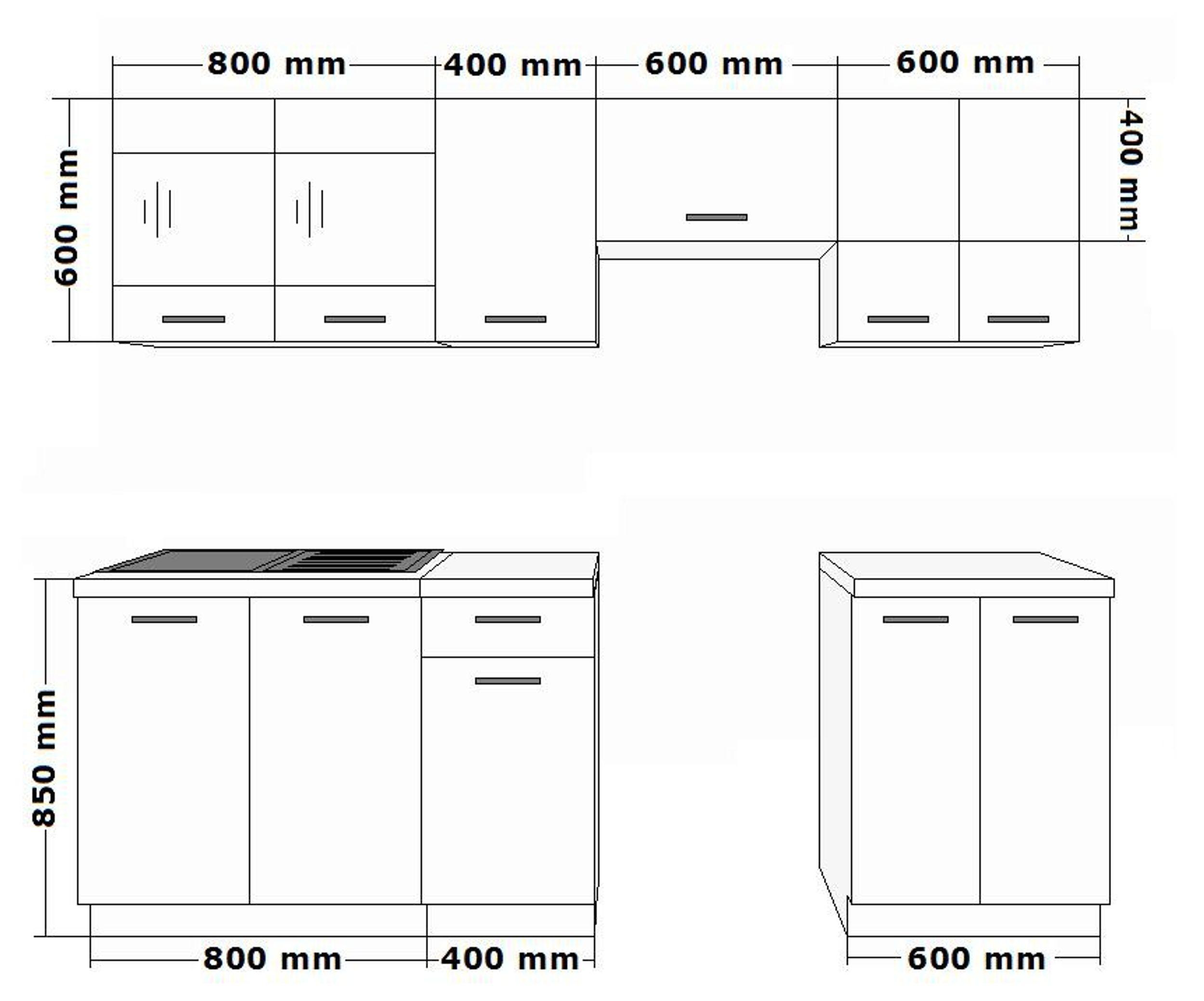 Küche Dave 240 cm Küchenzeile / Küchenblock variabel stellbar in ... | {Maße küchenschränke 25}