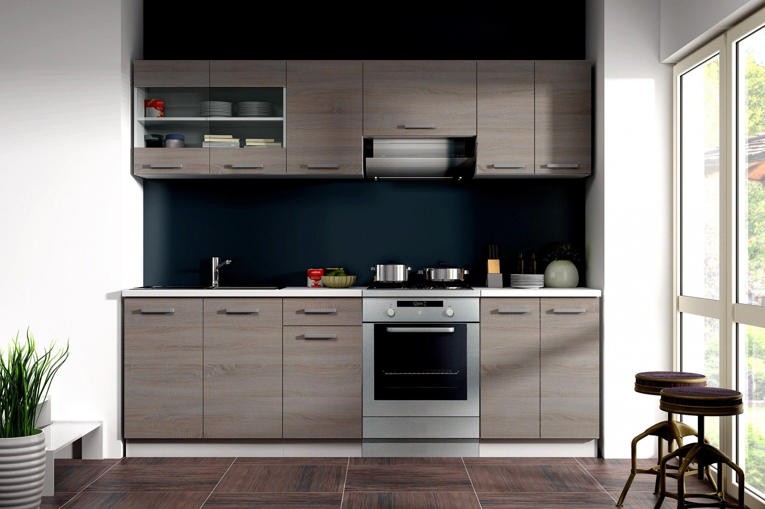 Küche Dave 240 cm Küchenzeile / Küchenblock variabel stellbar in ...