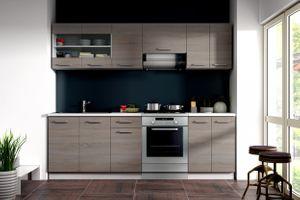 Küche Dave 240 cm Küchenzeile / Küchenblock variabel stellbar in Eiche Sonoma Trüffel – Bild 1
