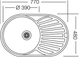Edelstahlspüle 77x48cm mit Ablage Einbauspüle Edelstahl Waschbecken Küchenspüle – Bild 2