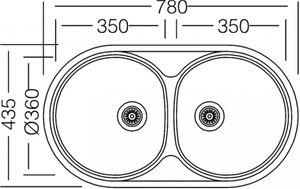 Edelstahlspüle 78x44cm Einbauspüle Edelstahl, Küchenspüle, Doppelspüle, 2 Becken – Bild 2