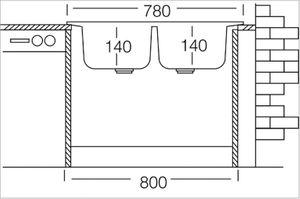Edelstahlspüle 78x44cm Einbauspüle Edelstahl, Küchenspüle, Doppelspüle, 2 Becken – Bild 3