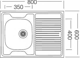 Auflagespüle Edelstahl, Edelstahlspüle 80cm x 60cm mit Ablage, Spüle, Waschbecken, Küchenspüle – Bild 2