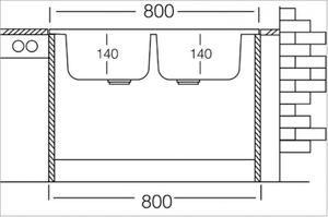 Auflagespüle Edelstahl, Edelstahlspüle 80x60cm, Spüle, Küchenspüle, Doppelspüle – Bild 3