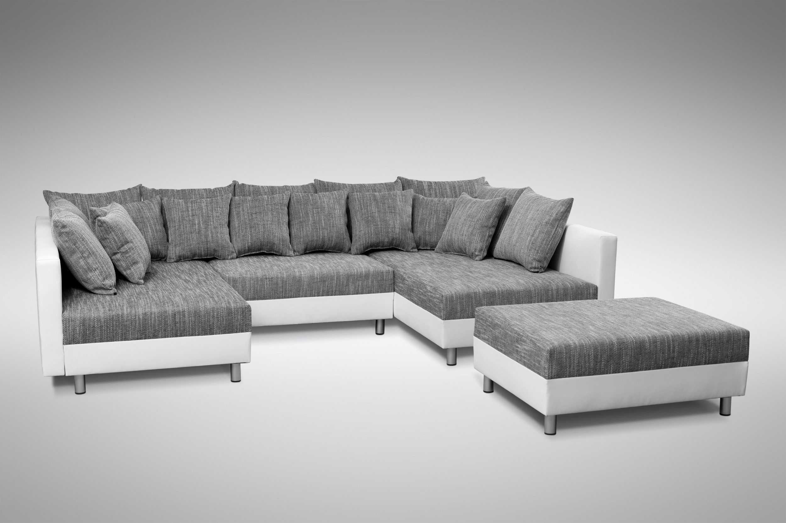 sofa couch ecksofa eckcouch in weiss hellgrau eckcouch mit hocker minsk xxl polsterm bel sofa. Black Bedroom Furniture Sets. Home Design Ideas