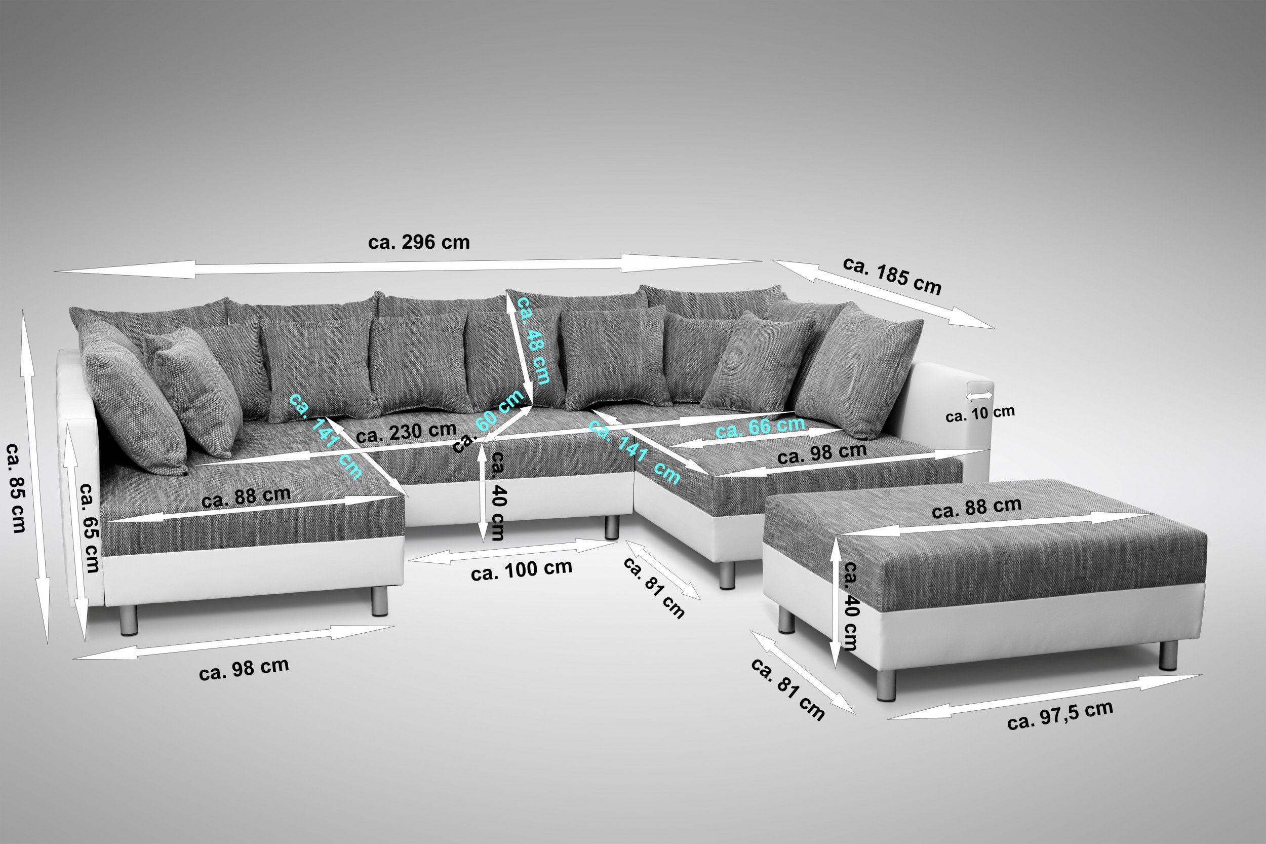 Sofa Couch Ecksofa Eckcouch in weiss / hellgrau Eckcouch mit Hocker - Minsk XXL – Bild 4