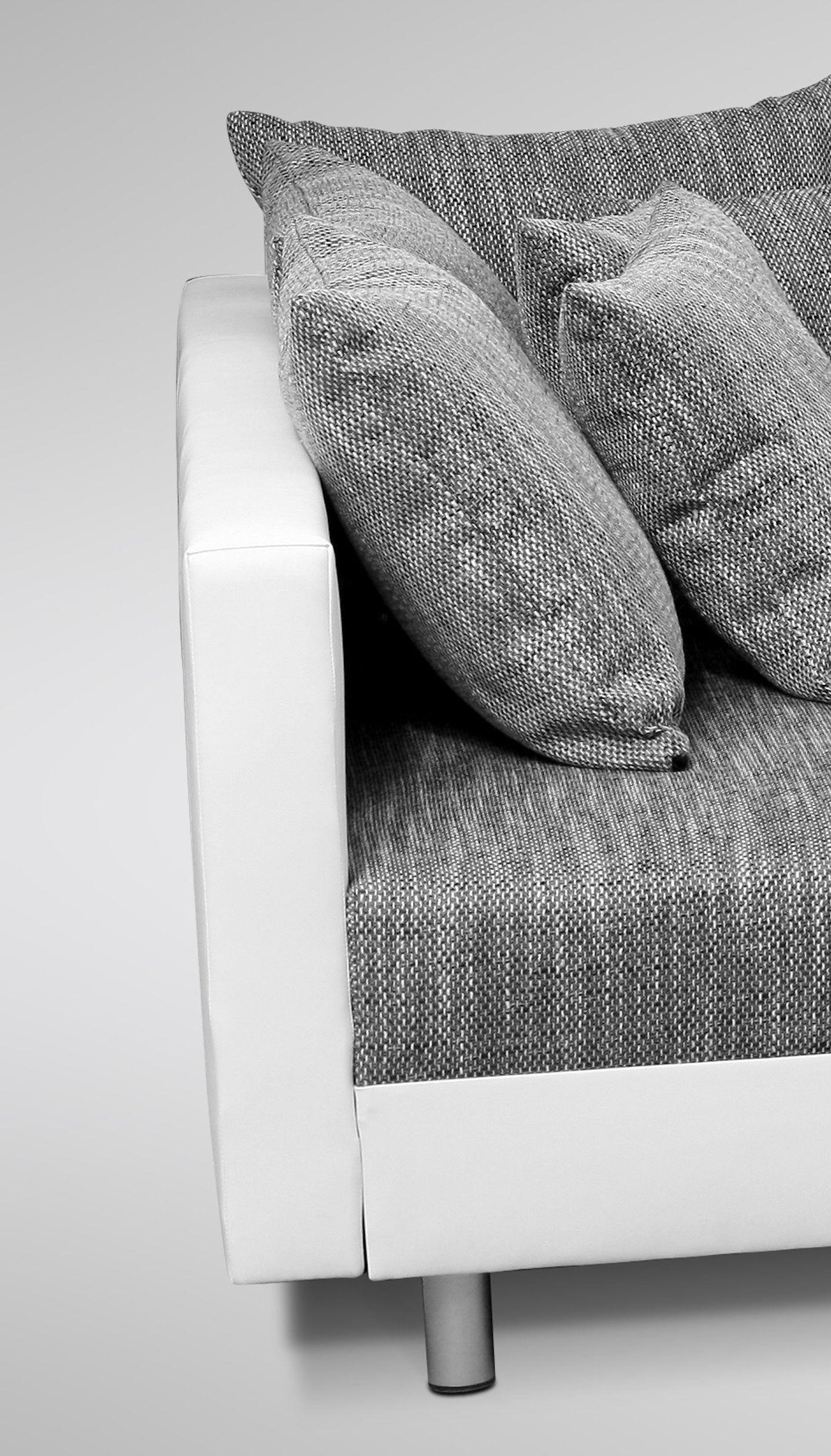 Sofa Couch Ecksofa Eckcouch in weiss / hellgrau Eckcouch mit Hocker - Minsk XXL – Bild 3