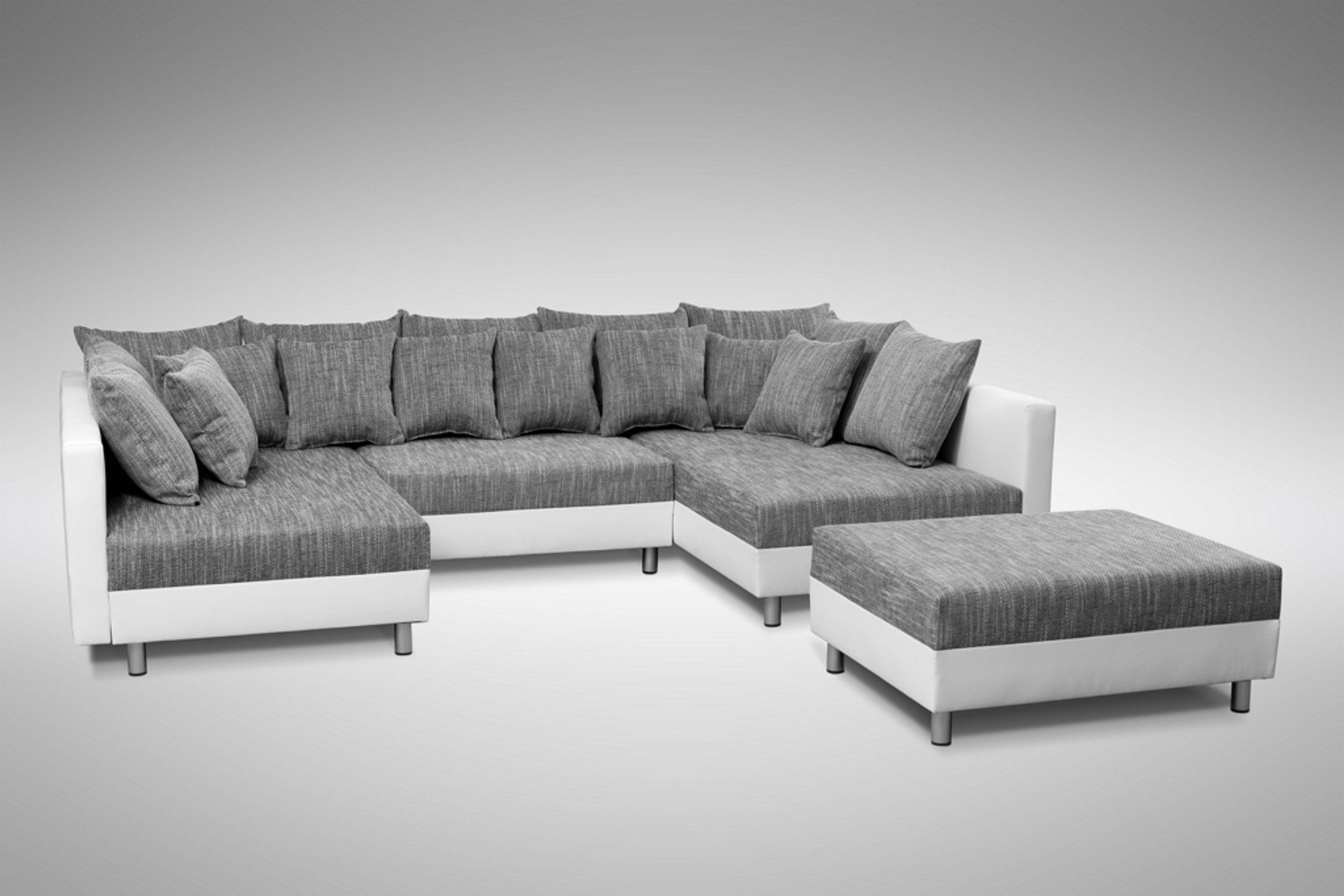 Sofa Couch Ecksofa Eckcouch in weiss / hellgrau Eckcouch mit Hocker - Minsk XXL – Bild 5