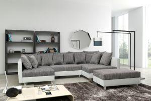 Sofa Couch Ecksofa Eckcouch in weiss / hellgrau Eckcouch mit Hocker - Minsk XXL – Bild 1