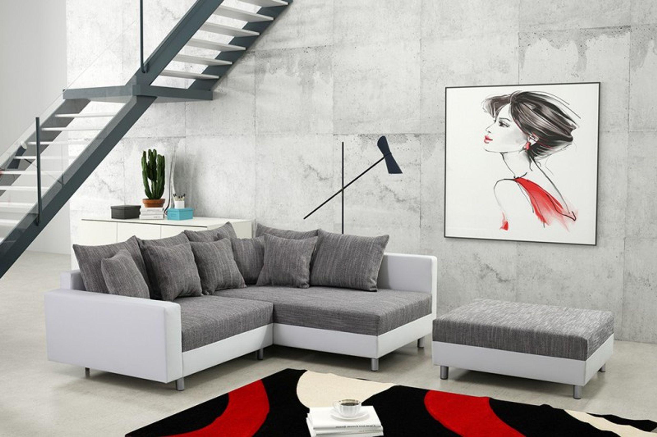 Modernes Sofa Couch Ecksofa Eckcouch in weiss Eckcouch mit Hocker ...